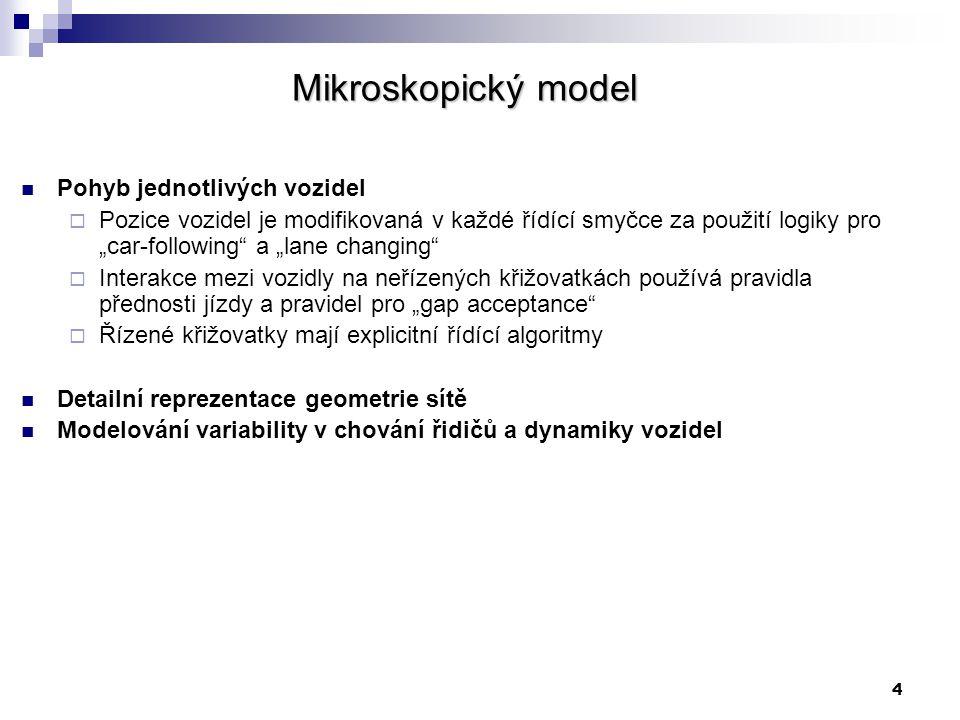 """4 Mikroskopický model Pohyb jednotlivých vozidel  Pozice vozidel je modifikovaná v každé řídící smyčce za použití logiky pro """"car-following"""" a """"lane"""