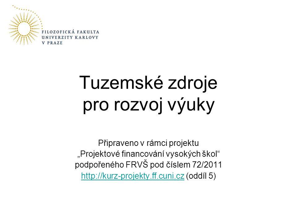 2 Přehled tématu Nejvýznamnějšími zdroje –Fond rozvoje vysokých škol –Operační program Praha – Adaptabilita –Operační program Vzdělávání pro konkurenceschopnost Další méně významné zdroje Obecný postup při přípravě žádostí