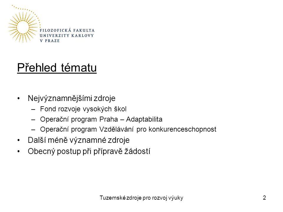 Tuzemské zdroje pro rozvoj výuky3 Fond rozvoje vysokých škol Jednoleté projekty na rozvoj výuky Poskytovatel MŠMT / administruje ARVŠ Žadatelem VŠ, resp.