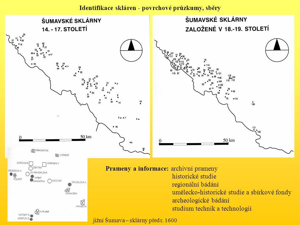 jižní Šumava – sklárny před r. 1600 Identifikace skláren - povrchové průzkumy, sběry Prameny a informace: archivní prameny historické studie regionáln