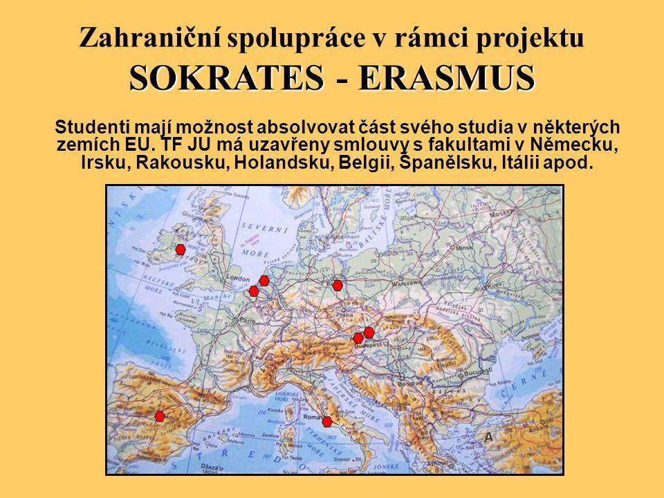 Zahraniční spolupráce v rámci projektu SOKRATESERASMUS SOKRATES - ERASMUS Studenti mají možnost absolvovat část svého studia v některých zemích EU. TF