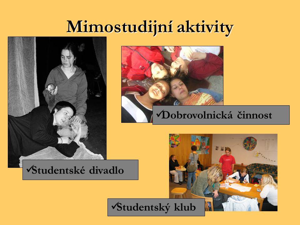 Mimostudijníaktivity Mimostudijní aktivity Dobrovolnická činnost Studentské divadlo Studentský klub