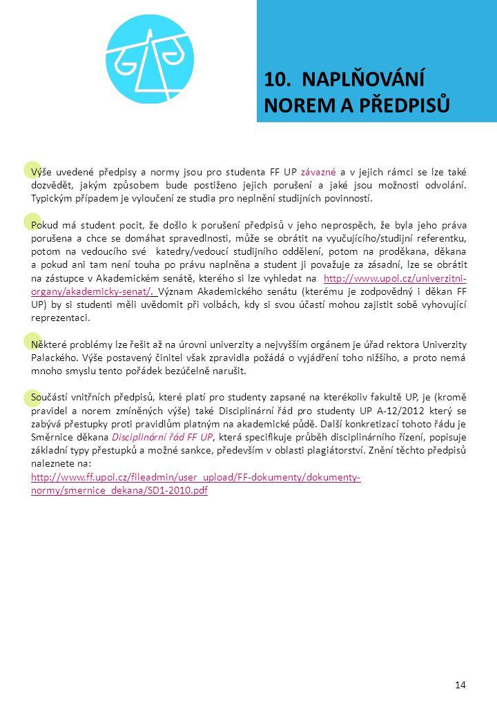 10. NAPLŇOVÁNÍ NOREM A PŘEDPISŮ 14 Výše uvedené předpisy a normy jsou pro studenta FF UP závazné a v jejich rámci se lze také dozvědět, jakým způsobem