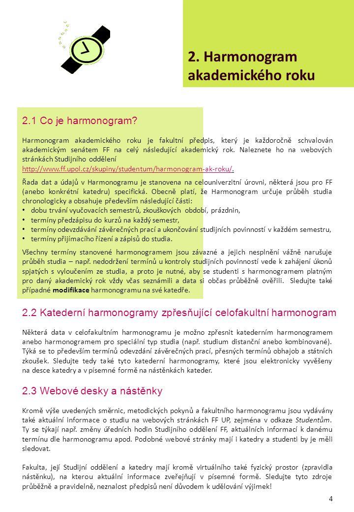 2. Harmonogram akademického roku Harmonogram akademického roku je fakultní předpis, který je každoročně schvalován akademickým senátem FF na celý násl