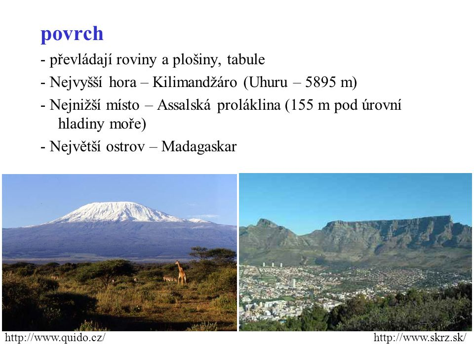 povrch - převládají roviny a plošiny, tabule - Nejvyšší hora – Kilimandžáro (Uhuru – 5895 m) - Nejnižší místo – Assalská proláklina (155 m pod úrovní