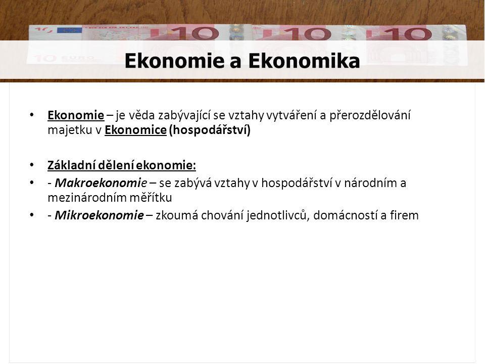 Ekonomie a Ekonomika Ekonomie – je věda zabývající se vztahy vytváření a přerozdělování majetku v Ekonomice (hospodářství) Základní dělení ekonomie: -