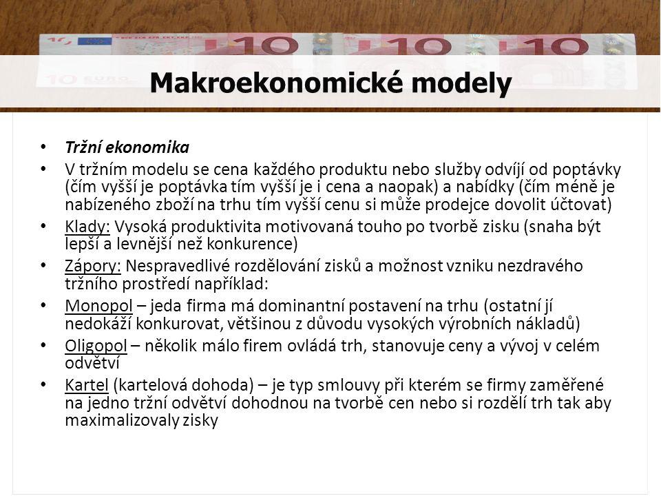 Tržní ekonomika V tržním modelu se cena každého produktu nebo služby odvíjí od poptávky (čím vyšší je poptávka tím vyšší je i cena a naopak) a nabídky