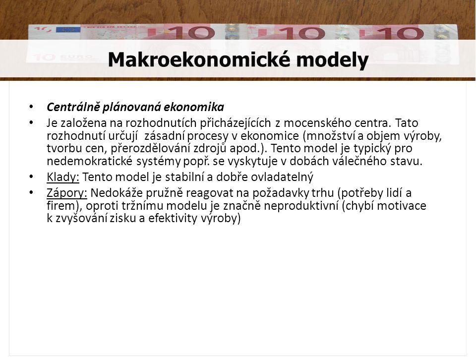 Smíšený model Tento model je založený na tržní ekonomice se zásahy státu, který se snaží zabránit vzniku nedokonalého tržního prostředí a omezit negativní dopady na společnost.