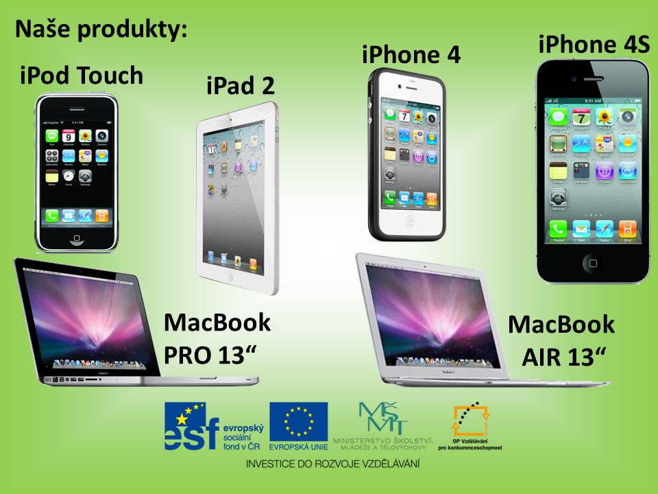 Naše produkty: iPhone 4S iPhone 4 iPad 2 iPod Touch MacBook PRO 13 MacBook AIR 13