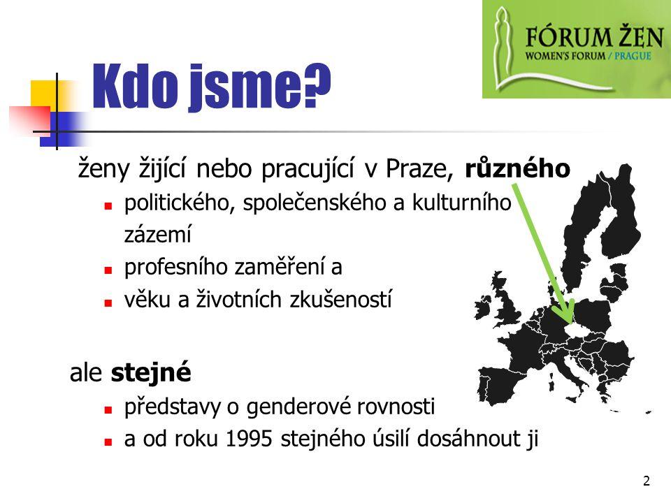 Kdo jsme? ženy žijící nebo pracující v Praze, různého politického, společenského a kulturního zázemí profesního zaměření a věku a životních zkušeností