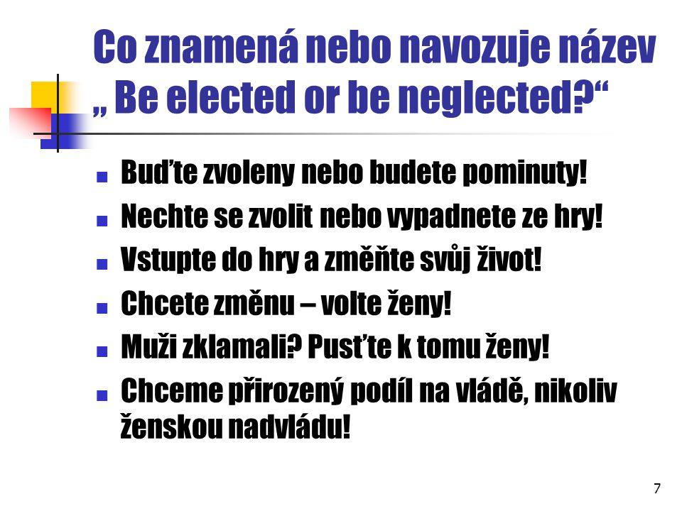 """Co znamená nebo navozuje název """" Be elected or be neglected?"""" Buďte zvoleny nebo budete pominuty! Nechte se zvolit nebo vypadnete ze hry! Vstupte do h"""