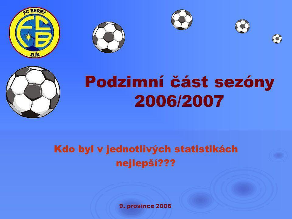 9. prosince 2006 Podzimní část sezóny 2006/2007 Kdo byl v jednotlivých statistikách nejlepší