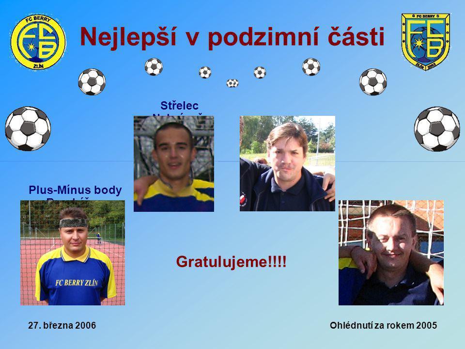 27. března 2006 Ohlédnutí za rokem 2005 Nejlepší v podzimní části Plus-Mínus body Brankář Střelec Nahrávač Gratulujeme!!!!