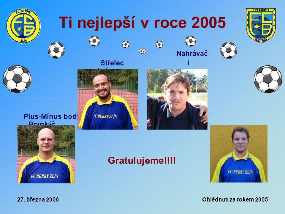 27. března 2006 Ohlédnutí za rokem 2005 Ti nejlepší v roce 2005 Plus-Mínus body Brankář Nahrávač Střelec i obránce Gratulujeme!!!!