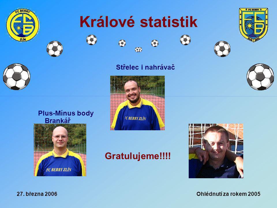 27. března 2006 Ohlédnutí za rokem 2005 Králové statistik Plus-Mínus body Brankář Střelec i nahrávač Gratulujeme!!!!