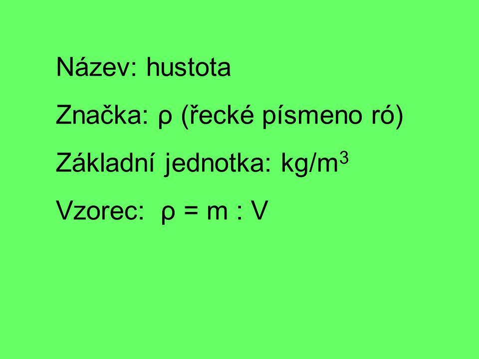 Název: hustota Značka: ρ (řecké písmeno ró) Základní jednotka: kg/m 3 Vzorec: ρ = m : V