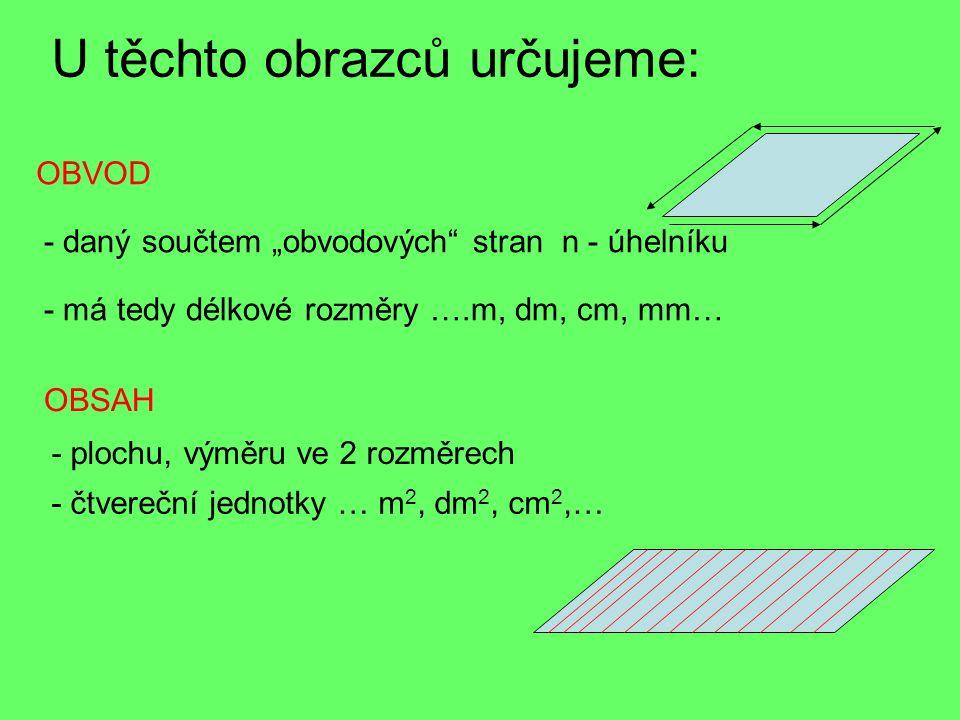 """U těchto obrazců určujeme: OBSAH OBVOD - daný součtem """"obvodových stran n - úhelníku - má tedy délkové rozměry ….m, dm, cm, mm… - plochu, výměru ve 2 rozměrech - čtvereční jednotky … m 2, dm 2, cm 2,…"""