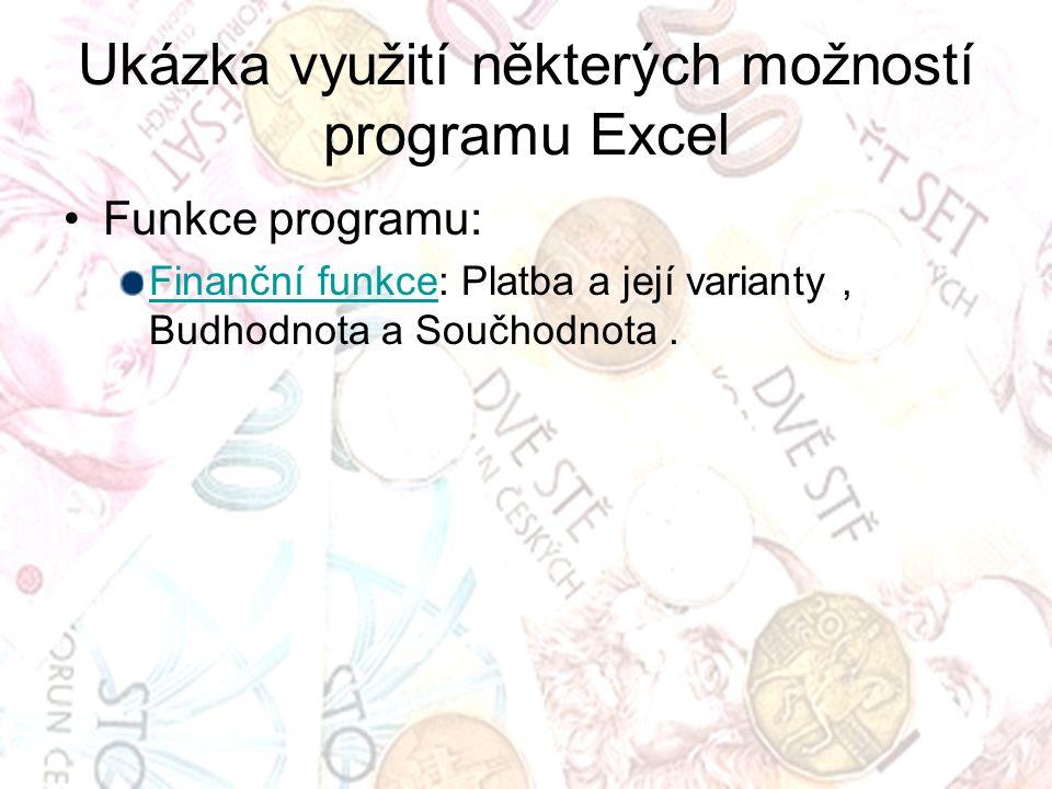 Ukázka využití některých možností programu Excel Funkce programu: Finanční funkceFinanční funkce: Platba a její varianty, Budhodnota a Součhodnota.