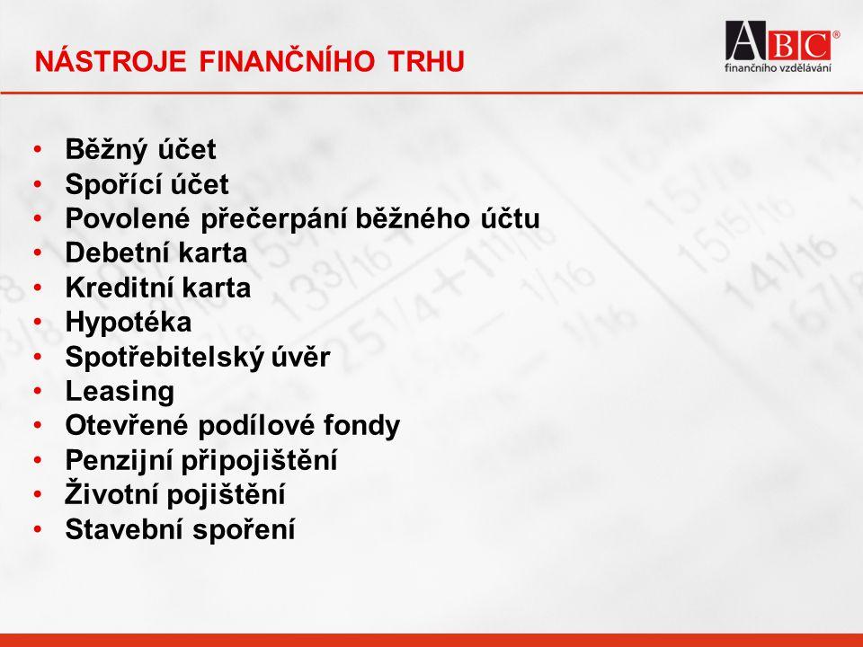 NÁSTROJE FINANČNÍHO TRHU Běžný účet Spořící účet Povolené přečerpání běžného účtu Debetní karta Kreditní karta Hypotéka Spotřebitelský úvěr Leasing Ot