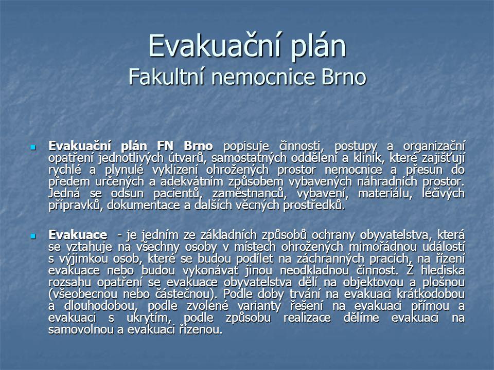 Evakuační plán Fakultní nemocnice Brno Evakuační plán FN Brno popisuje činnosti, postupy a organizační opatření jednotlivých útvarů, samostatných oddě