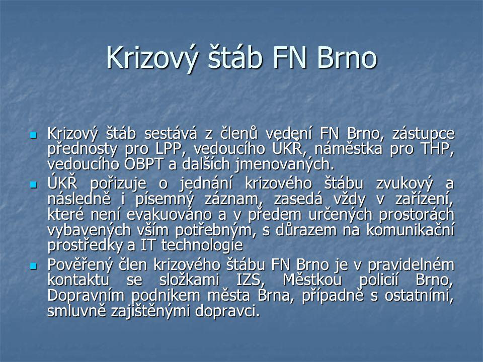Krizový štáb FN Brno Krizový štáb sestává z členů vedení FN Brno, zástupce přednosty pro LPP, vedoucího ÚKŘ, náměstka pro THP, vedoucího OBPT a dalšíc