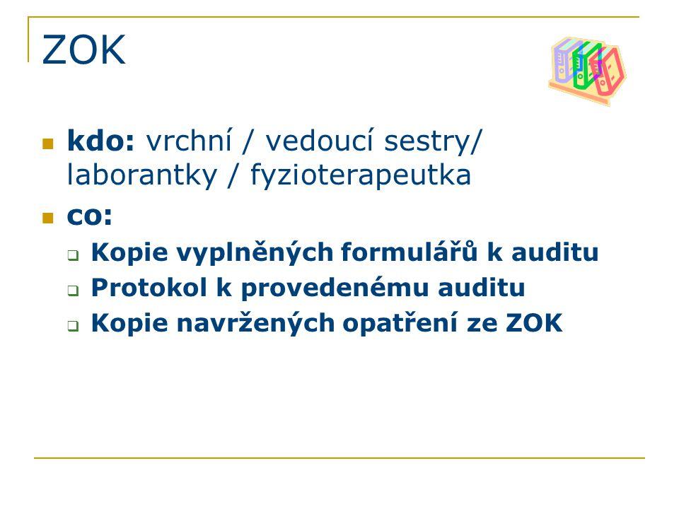 ZOK kdo: vrchní / vedoucí sestry/ laborantky / fyzioterapeutka co:  Kopie vyplněných formulářů k auditu  Protokol k provedenému auditu  Kopie navržených opatření ze ZOK