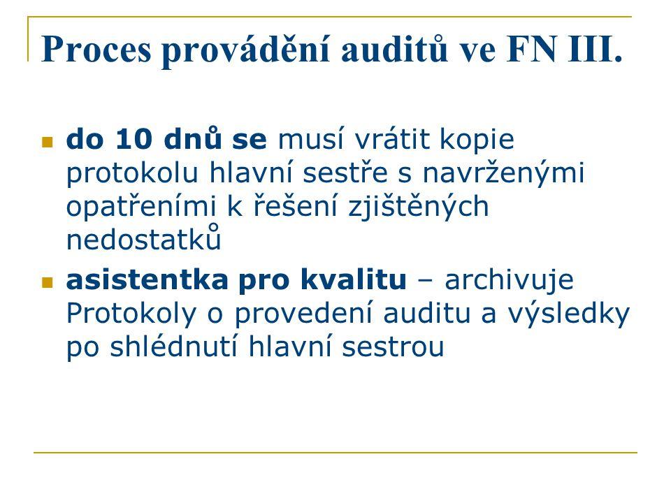 Proces provádění auditů ve FN III. do 10 dnů se musí vrátit kopie protokolu hlavní sestře s navrženými opatřeními k řešení zjištěných nedostatků asist