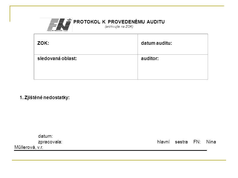 PROTOKOL K PROVEDENÉMU AUDITU (archivujte na ZOK) ZOK: datum auditu: sledovaná oblast: auditor: 1. Zjištěné nedostatky: datum: zpracovala:hlavní sestr
