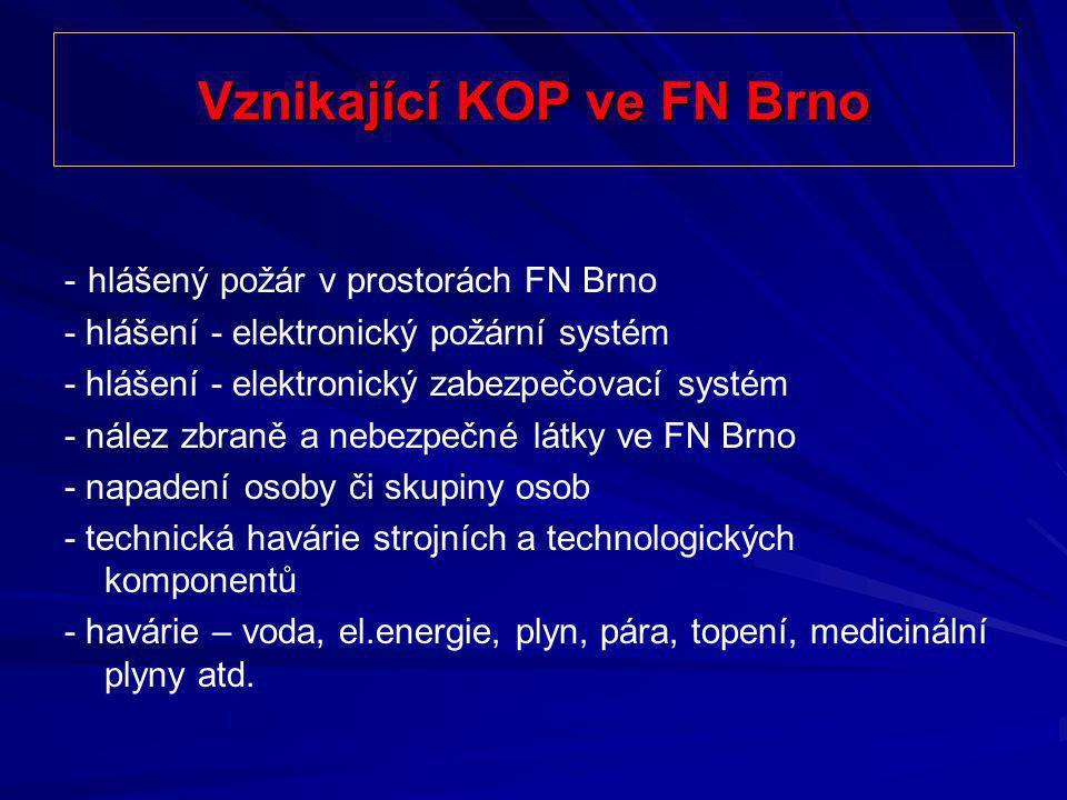 Vznikající KOP ve FN Brno - hlášený požár v prostorách FN Brno - hlášení - elektronický požární systém - hlášení - elektronický zabezpečovací systém -