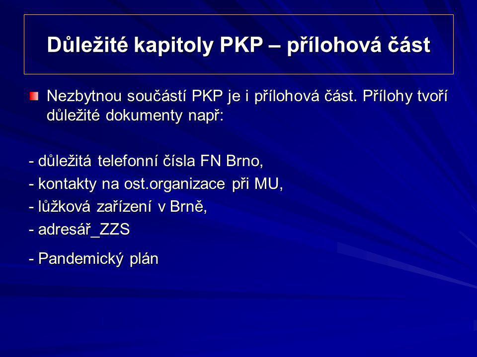 Důležité kapitoly PKP – přílohová část Nezbytnou součástí PKP je i přílohová část. Přílohy tvoří důležité dokumenty např: - důležitá telefonní čísla F