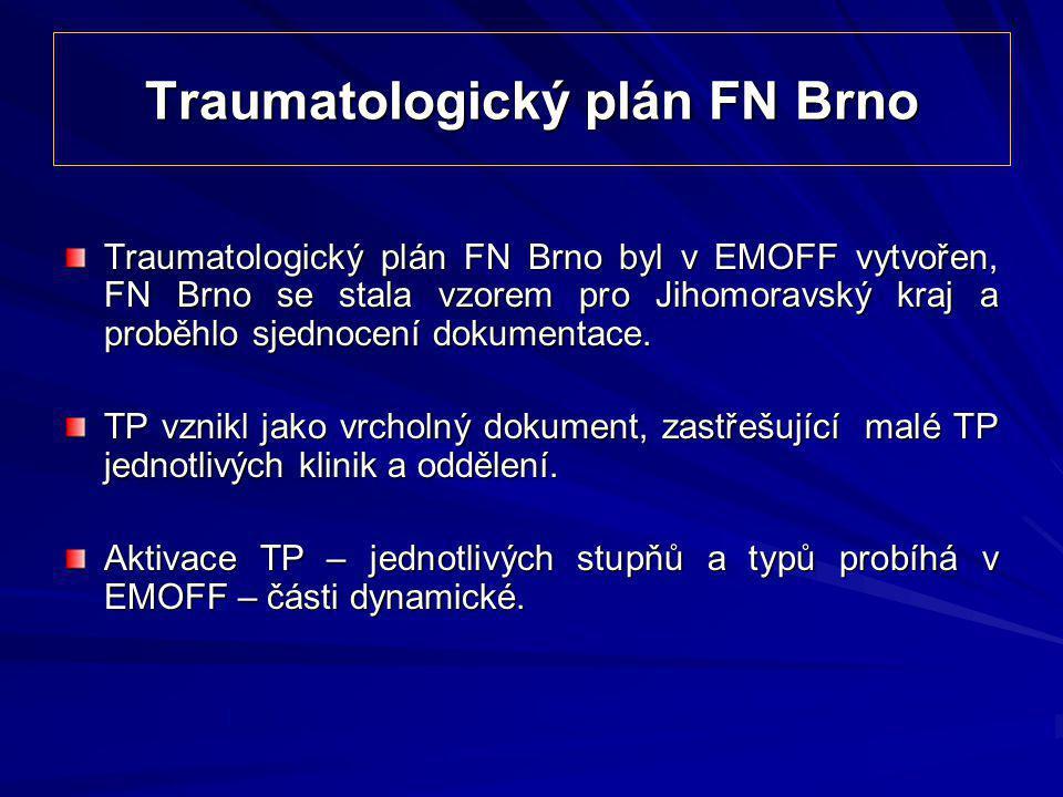 Traumatologický plán FN Brno Traumatologický plán FN Brno byl v EMOFF vytvořen, FN Brno se stala vzorem pro Jihomoravský kraj a proběhlo sjednocení do