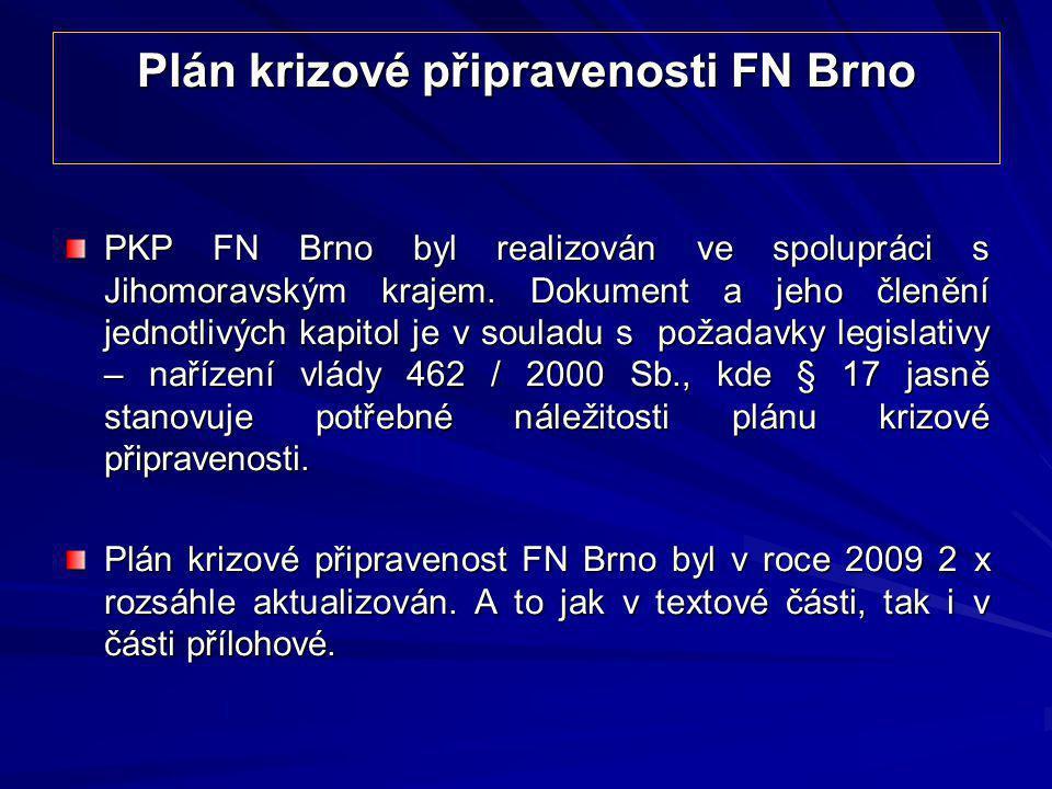 Plán krizové připravenosti FN Brno PKP FN Brno byl realizován ve spolupráci s Jihomoravským krajem. Dokument a jeho členění jednotlivých kapitol je v