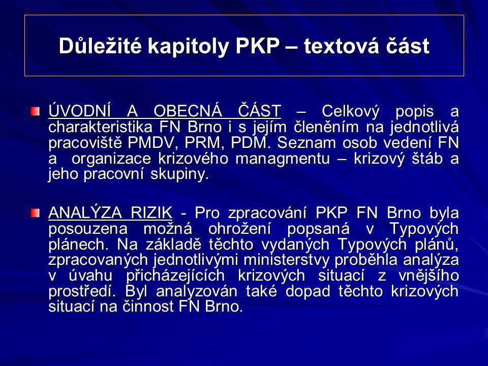 Důležité kapitoly PKP – textová část ÚVODNÍ A OBECNÁ ČÁST – Celkový popis a charakteristika FN Brno i s jejím členěním na jednotlivá pracoviště PMDV,