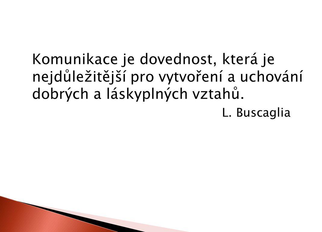 Komunikace je dovednost, která je nejdůležitější pro vytvoření a uchování dobrých a láskyplných vztahů. L. Buscaglia