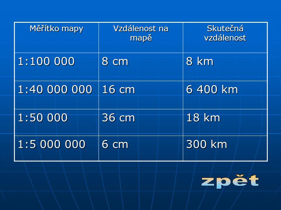 Měřítko mapy Vzdálenost na mapě Skutečná vzdálenost 1:100 000 8 cm 8 km 1:40 000 000 16 cm 6 400 km 1:50 000 36 cm 18 km 1:5 000 000 6 cm 300 km