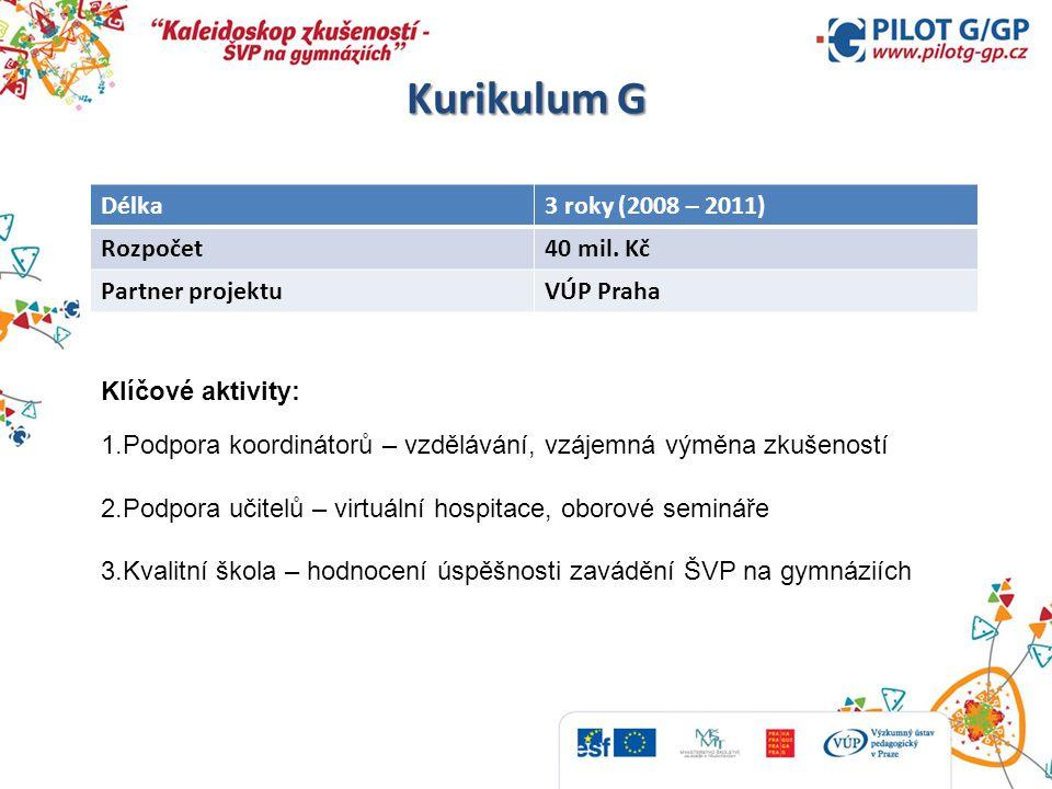 Kurikulum G Délka3 roky (2008 – 2011) Rozpočet40 mil. Kč Partner projektuVÚP Praha Klíčové aktivity: 1.Podpora koordinátorů – vzdělávání, vzájemná vým