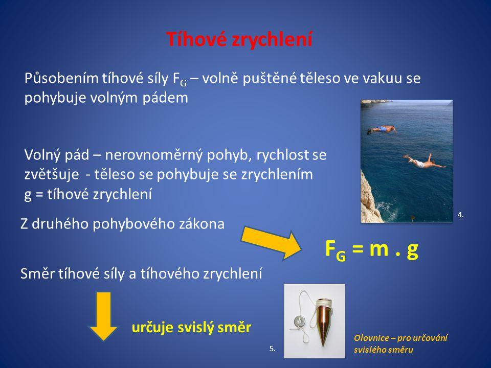 Tíhové zrychlení Působením tíhové síly F G – volně puštěné těleso ve vakuu se pohybuje volným pádem Volný pád – nerovnoměrný pohyb, rychlost se zvětšuje - těleso se pohybuje se zrychlením g = tíhové zrychlení Z druhého pohybového zákona F G = m.
