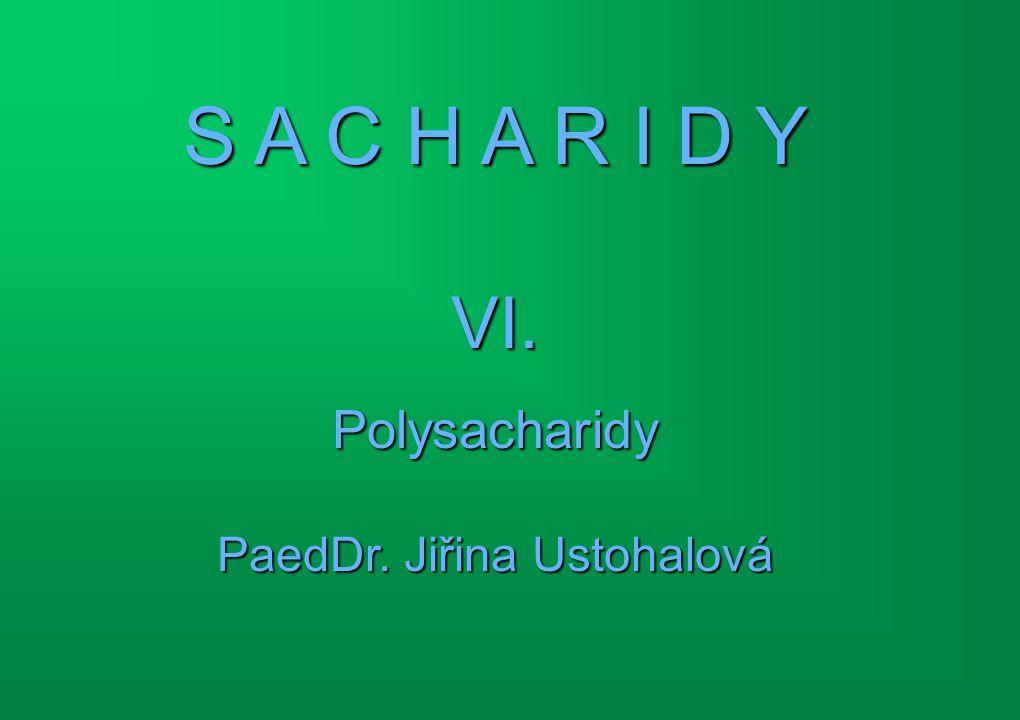 Shrnutí  Obecný vzorec polysacharidů  Charakteristika polysacharidů  Hydrolýza polysacharidů  Důkaz redukčních vlastostí polysacharidů  Zpracování celulózy