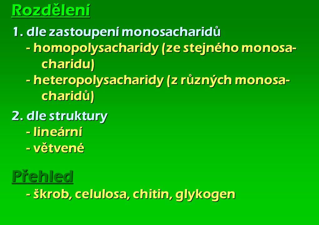 Rozd ě lení 1. dle zastoupení monosacharid ů - homopolysacharidy (ze stejného monosa- charidu) - heteropolysacharidy (z r ů zných monosa- charid ů ) 2
