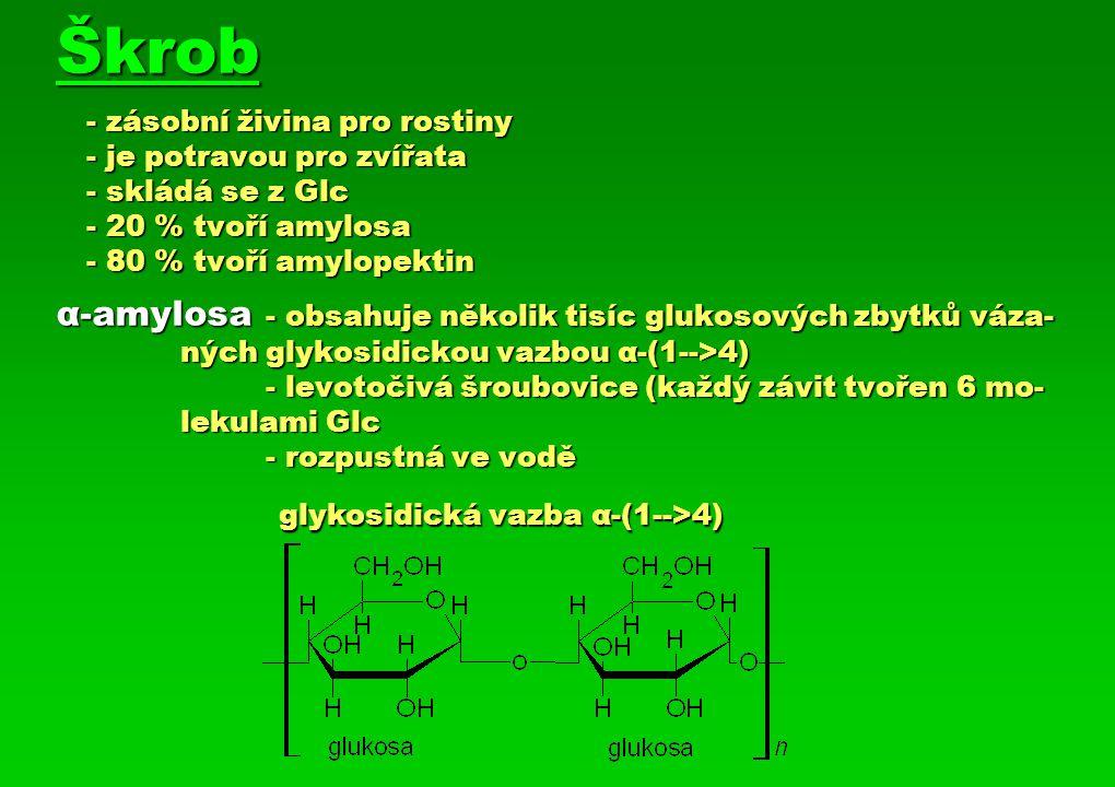 amylopektin - obsahuje 300 – 5 000 molekul Glc - větvený řetězec vzorec α-(1-->4), α-(1-->6) - ve vodě tvoří koloidní roztok - tvoří molekulu vyskytující se v přírodě amylopektin - obsahuje 300 – 5 000 molekul Glc - větvený řetězec vzorec α-(1-->4), α-(1-->6) - ve vodě tvoří koloidní roztok - tvoří molekulu vyskytující se v přírodě glykosidická vazba α-(1-->4) α-(1-->6) Škrob - č áste č nou hydrolýzou vzniká maltosa - úplnou hydrolýzou vzniká glukosa - v t ě le hydrolyzuje specifickými enzymy ( α -amylasa, α -glukosidasa, α -dextrinasa)