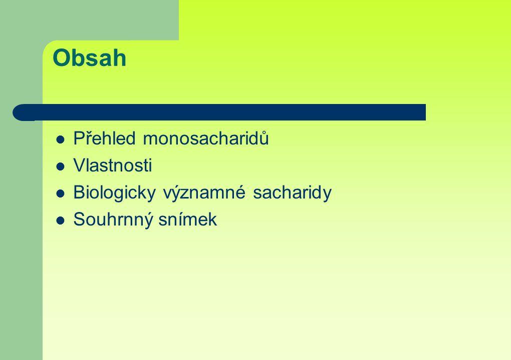 Obsah Přehled monosacharidů Vlastnosti Biologicky významné sacharidy Souhrnný snímek