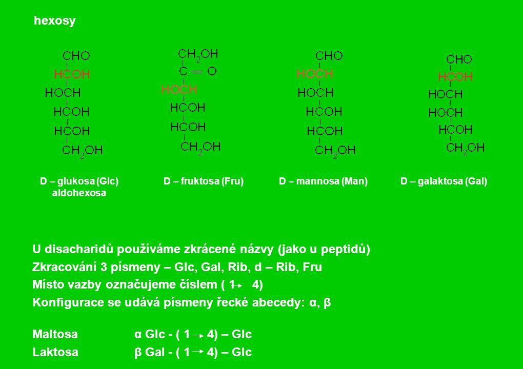 U disacharidů používáme zkrácené názvy (jako u peptidů) Zkracování 3 písmeny – Glc, Gal, Rib, d – Rib, Fru Místo vazby označujeme číslem ( 1 4) Konfigurace se udává písmeny řecké abecedy: α, β Maltosa α Glc - ( 1 4) – Glc Laktosa β Gal - ( 1 4) – Glc hexosy D – glukosa (Glc) aldohexosa D – fruktosa (Fru)D – mannosa (Man)D – galaktosa (Gal)