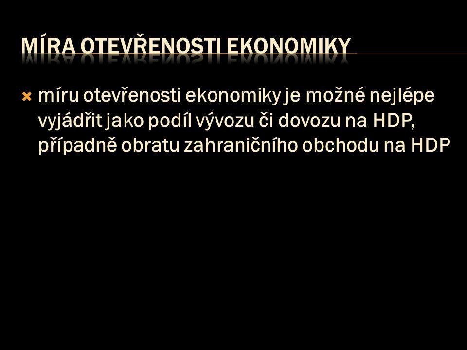  míru otevřenosti ekonomiky je možné nejlépe vyjádřit jako podíl vývozu či dovozu na HDP, případně obratu zahraničního obchodu na HDP