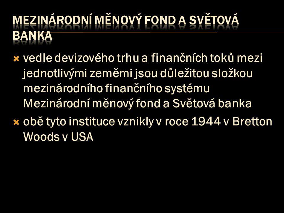  vedle devizového trhu a finančních toků mezi jednotlivými zeměmi jsou důležitou složkou mezinárodního finančního systému Mezinárodní měnový fond a Světová banka  obě tyto instituce vznikly v roce 1944 v Bretton Woods v USA