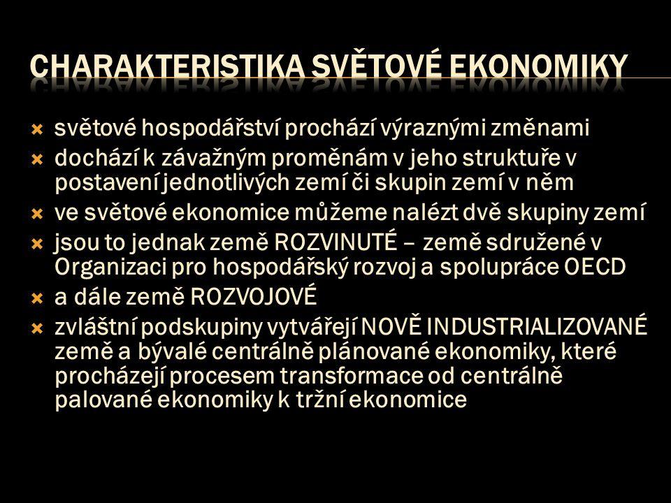  světové hospodářství prochází výraznými změnami  dochází k závažným proměnám v jeho struktuře v postavení jednotlivých zemí či skupin zemí v něm  ve světové ekonomice můžeme nalézt dvě skupiny zemí  jsou to jednak země ROZVINUTÉ – země sdružené v Organizaci pro hospodářský rozvoj a spolupráce OECD  a dále země ROZVOJOVÉ  zvláštní podskupiny vytvářejí NOVĚ INDUSTRIALIZOVANÉ země a bývalé centrálně plánované ekonomiky, které procházejí procesem transformace od centrálně palované ekonomiky k tržní ekonomice