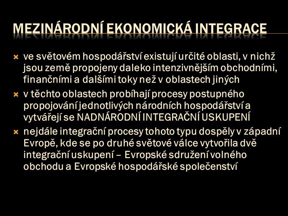  ve světovém hospodářství existují určité oblasti, v nichž jsou země propojeny daleko intenzivnějším obchodními, finančními a dalšími toky než v oblastech jiných  v těchto oblastech probíhají procesy postupného propojování jednotlivých národních hospodářství a vytvářejí se NADNÁRODNÍ INTEGRAČNÍ USKUPENÍ  nejdále integrační procesy tohoto typu dospěly v západní Evropě, kde se po druhé světové válce vytvořila dvě integrační uskupení – Evropské sdružení volného obchodu a Evropské hospodářské společenství