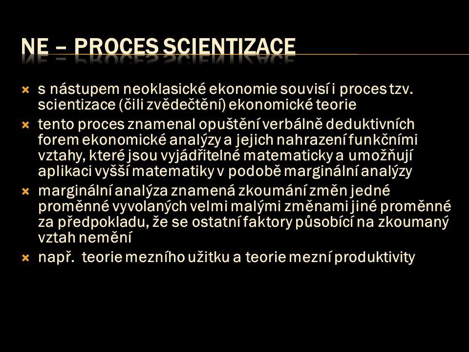  s nástupem neoklasické ekonomie souvisí i proces tzv. scientizace (čili zvědečtění) ekonomické teorie  tento proces znamenal opuštění verbálně dedu