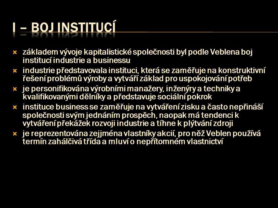  základem vývoje kapitalistické společnosti byl podle Veblena boj institucí industrie a businessu  industrie představovala instituci, která se zaměř
