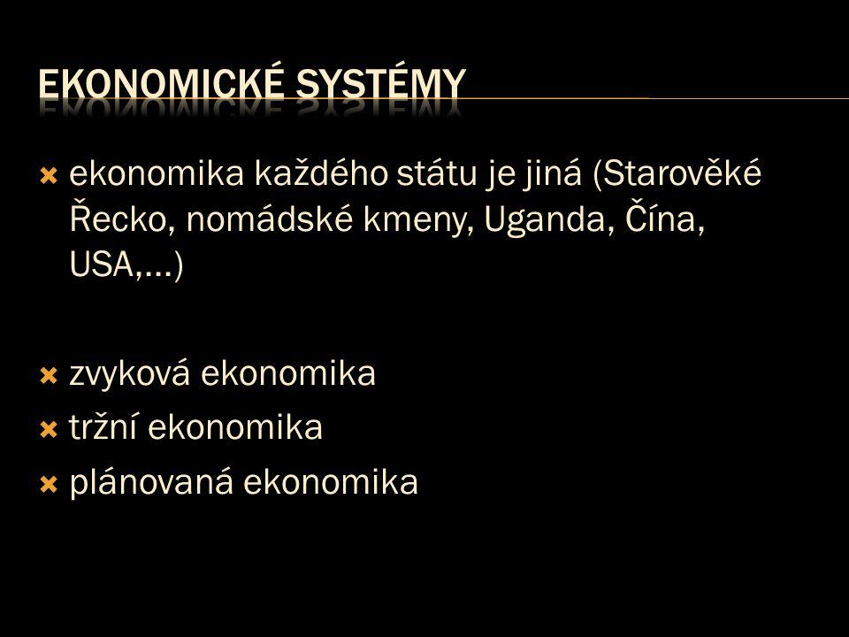  ekonomika každého státu je jiná (Starověké Řecko, nomádské kmeny, Uganda, Čína, USA,...)  zvyková ekonomika  tržní ekonomika  plánovaná ekonomika