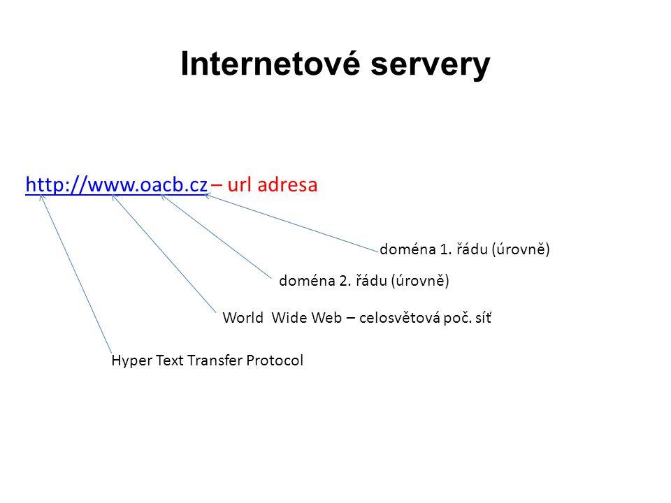 Internetové servery http://www.oacb.czhttp://www.oacb.cz – url adresa doména 1.